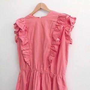 Pink Pinstripe Ruffle Dress